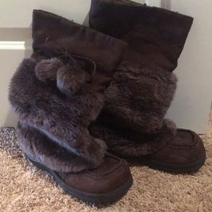Brown furry boots
